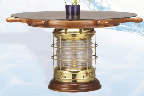 "(TB-890-SW-101-30-D) Premium Brass Lantern Table with 30"" Ship Wheel"