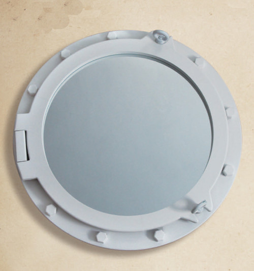 "Wooden Porthole Mirror 24"" - White"
