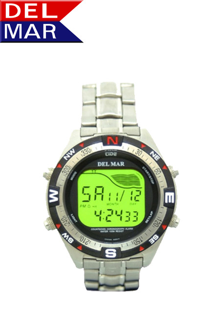 Del Mar Men's 330M All Stainless Steel Digital Tide Watch