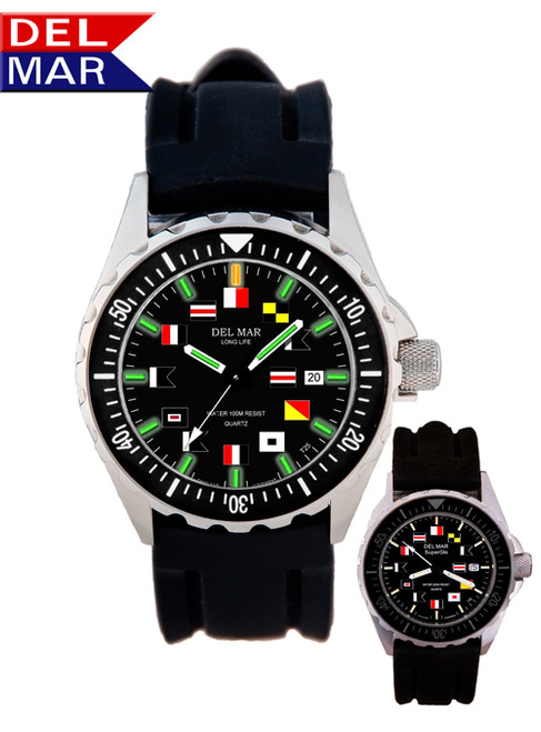 Del Mar Men's 200M SuperGlo Nautical Flag Dial Watch with Sport Strap -  Black Face