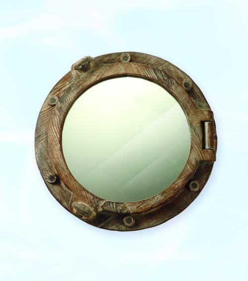 "Wooden Porthole Mirror 17"""
