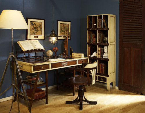 Deluxe Nautical Navigator's Desk, Ivory