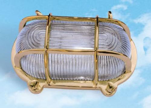 "(BL-861)  8"" Brass Oval Bulkhead Lamp Fixture"