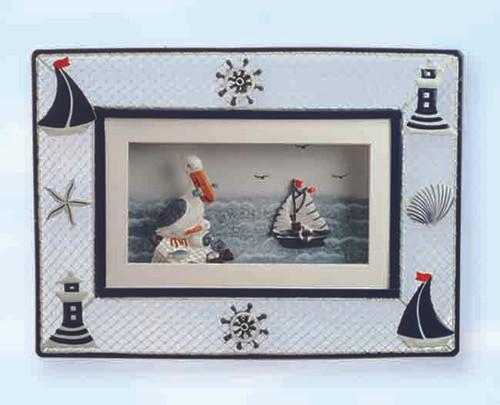 Pelican and Sailboat Decorative Metal Plaque