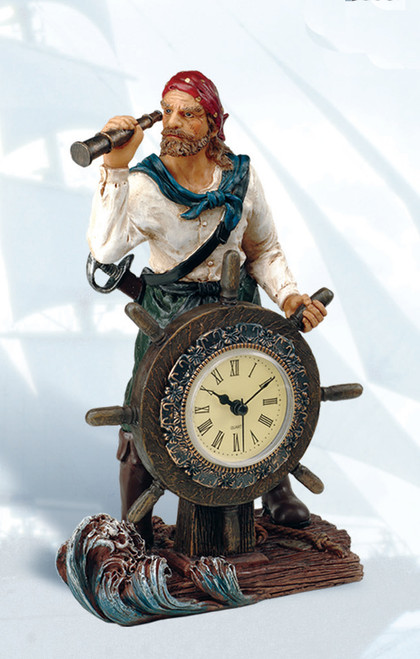 Pirate with Ship Wheel Clock