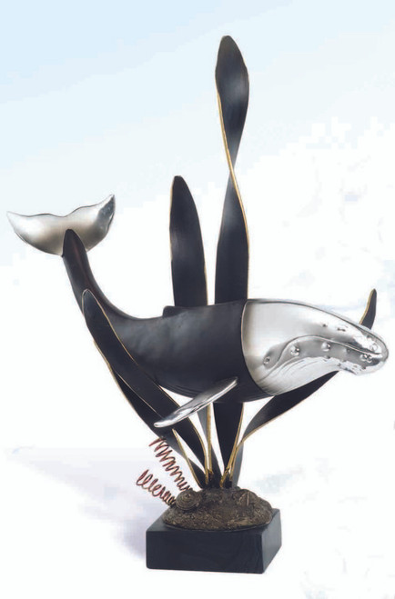 """(FS-06) Large Black and Silver 20"""" Whale Polystone Sculpture"""
