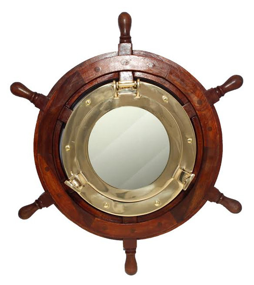 "(BP-711-30)  Polished Brass Porthole Mirror in 30"" Wooden Ship Wheel"