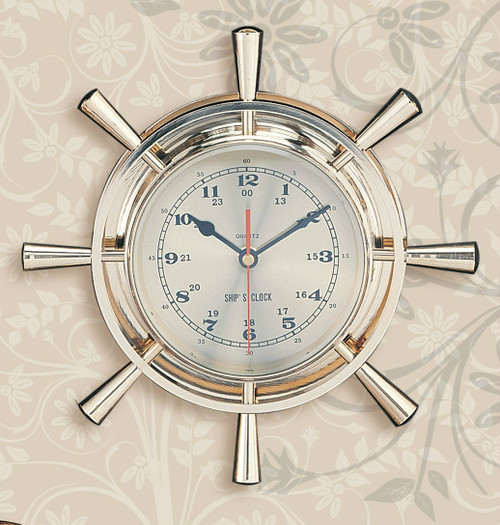 (111)  Polished Brass Premium Ship Wheel Clock