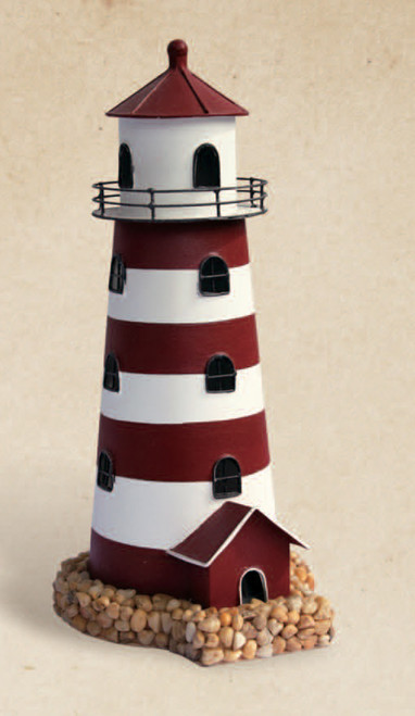 Red and White Lighthouse Candle Holder
