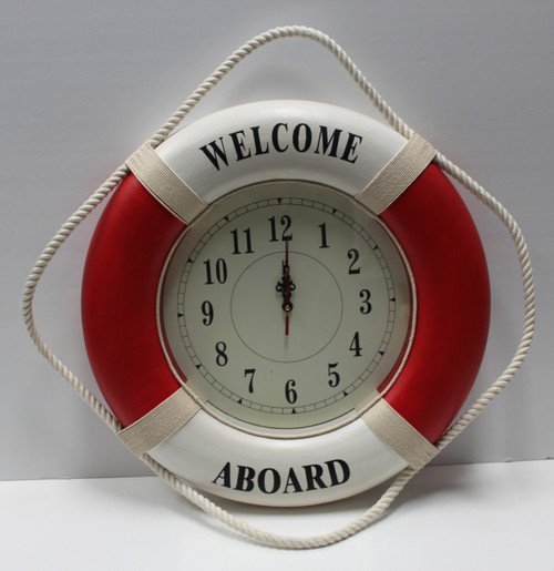 """Life Ring Clock - Red """"Welcome Aboard"""""""