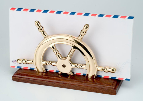 (BW-592)  Polished Brass Ship Wheel Letter Holder with Wooden Base