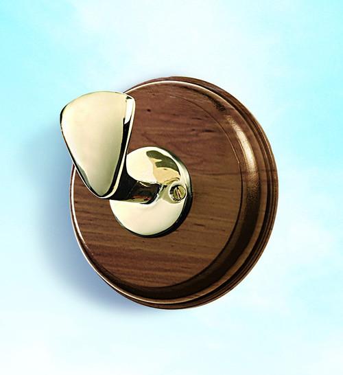 (BW-597) Brass Bollard Coat Hook with Wooden Base