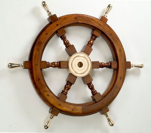 Wooden Ship Wheel with Brass Spokes - 2 Sizes Available
