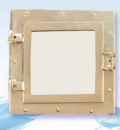 "(BP-700)  11.5"" Square Solid Polished Brass Porthole Mirror"