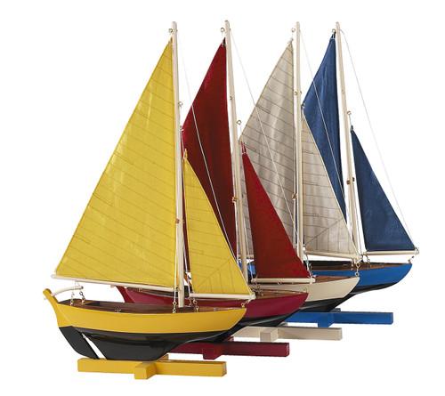 Colorful Sunset Sailers Model Sailboats - Set of 4