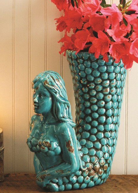 Large Turquoise Ceramic Mermaid Vase
