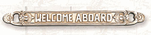 "(BP-715C)  Lacquered Brass ""Welcome Aboard"" Wall Plaque"