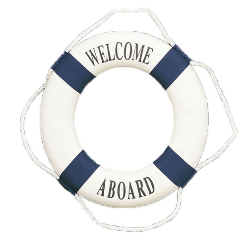 """Nautical Sign - """"Welcome Aboard"""" Decorative Life Ring"""