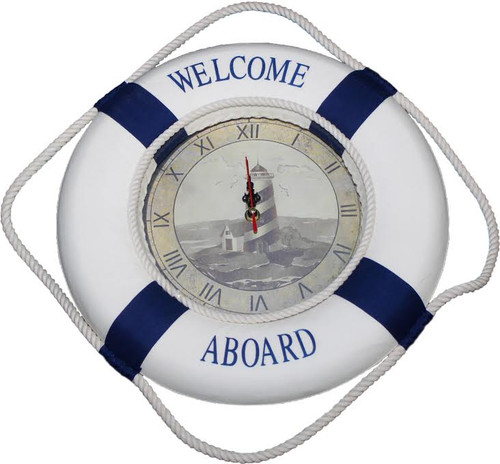 "Life Ring Clock with Lighthouse Scene - ""Welcome Aboard"""