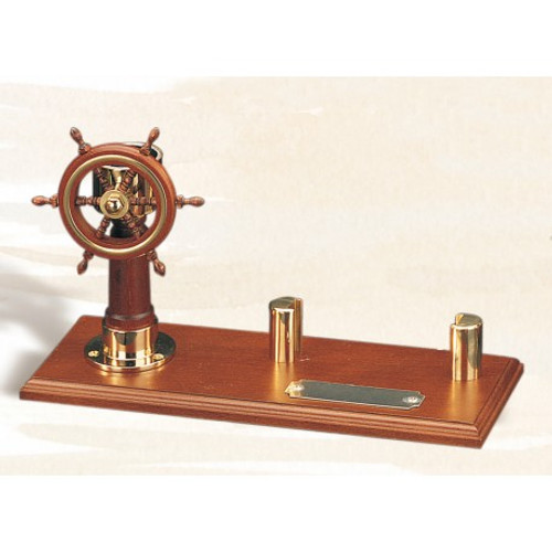 (BW-670) Brass and Wood Ship Wheel and Compass Card Holder Image 2
