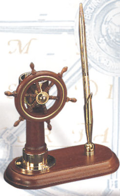 (BW-673) Brass and Wood Ship Wheel with Compass Pen Holder