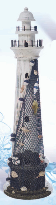 Decorative White Washed Lighthouse with Fishnet and Shells