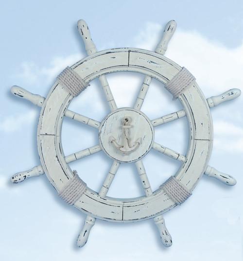 """Nautical Wheel Decor - Antique White Washed Finish 24"""""""
