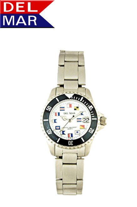Del Mar Women's 200M Stainless Steel Classic Sport Nautical Flag Dial Watch