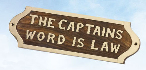 """(BP-718)  Brass and Wood """"The Captain's Word is Law"""" Wall Plaque"""