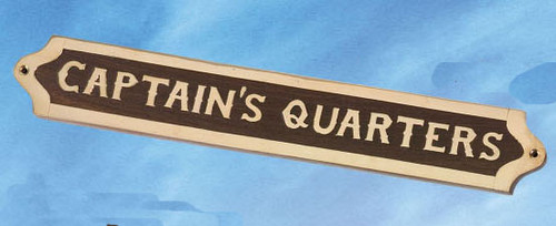 "(BP-719A) Brass and Wood ""Captain's Quarters"" Wall Plaque"