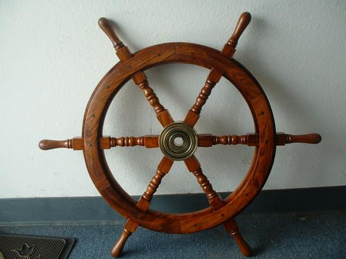 """(SW-101-24-S) 24"""" Standard Wooden Ship Wheel - Single Wheel"""