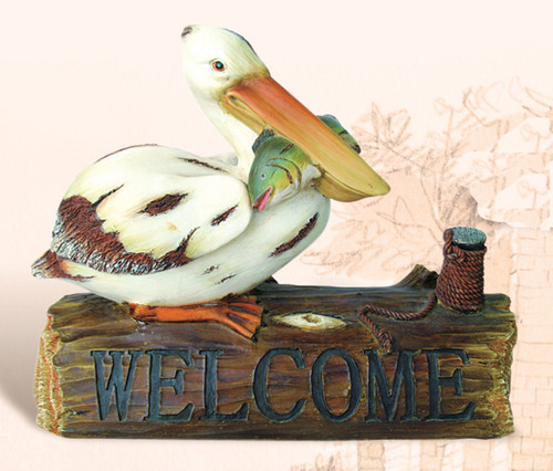 Polystone Pelican Decor on Welcome Log