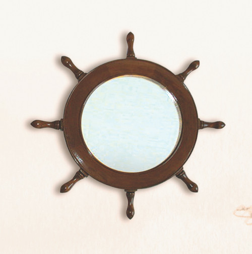 "(BP-710)  17.25"" Wooden Ships Wheel Mirror"