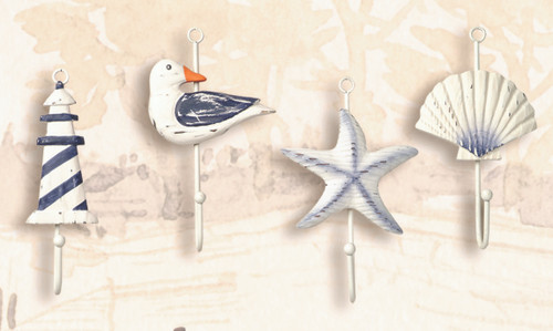 (GH-197) Nautical Coat Hangers- Set of 4- Featuring a Seagull, Seashell, Lighthouse, and Starfish