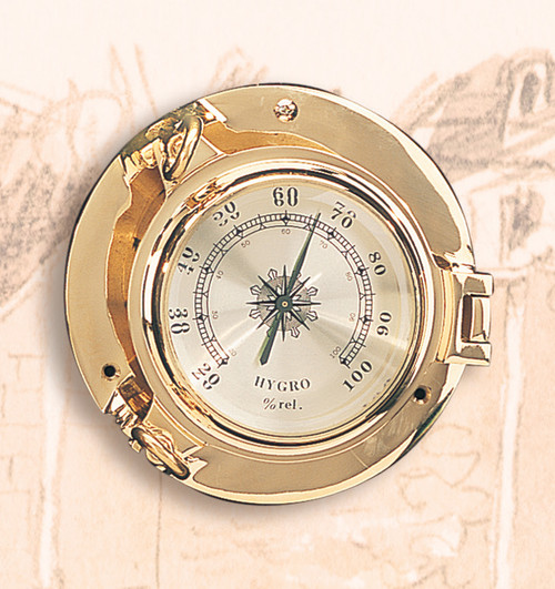 "5 1/2"" Brass Porthole Hygrometer"