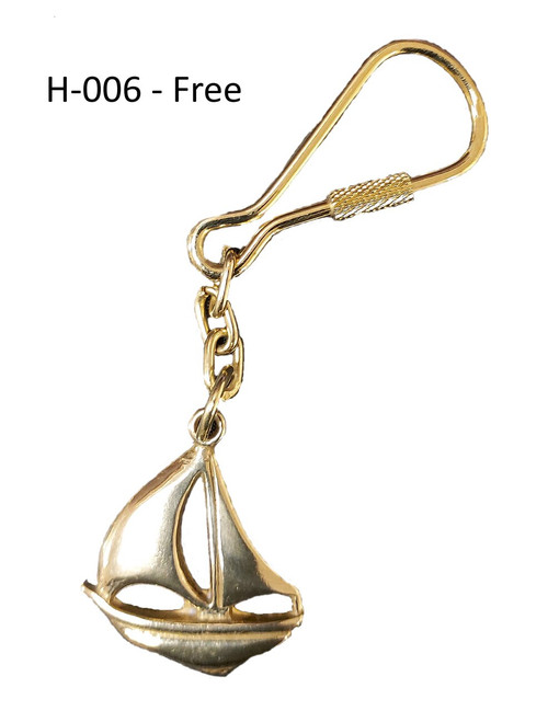 "H - 006 -  Sailboat Key Chain Option Free with Purchase of (FB-08) 8"" Brass ""Fire"" Bell"