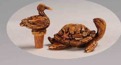 Polystone Bird and Turtle Bottle Stopper