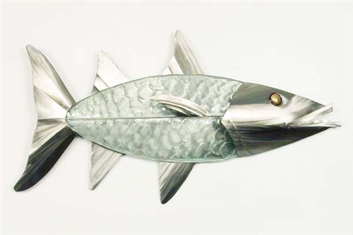 """(G020) Large 18"""" Barracuda Glass and Stainless Steel Sculpture"""