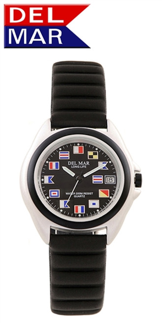 Del Mar Men's 200M Lite Aluminum Nautical Flag Dial Watch - White or Black Face