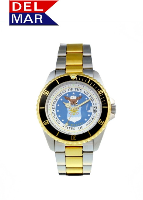 Del Mar Men's 200M Stainless Steel Military Sport Dive Watch- U. S. Air Force -Two Tone