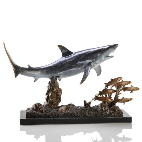 Brass Shark Sculpture - Shark with Prey