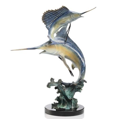 Keys Double - Marlin and Sailfish Sculpture