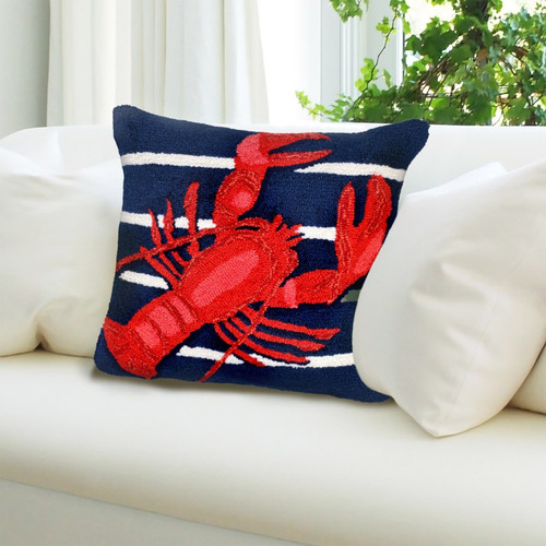 Frontporch Navy Lobster on Stripes Indoor/Outdoor Throw Pillow - Lifestyle 1