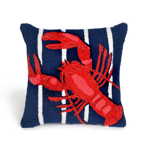 LOBSTER ON STRIPES NAVY PILLOW