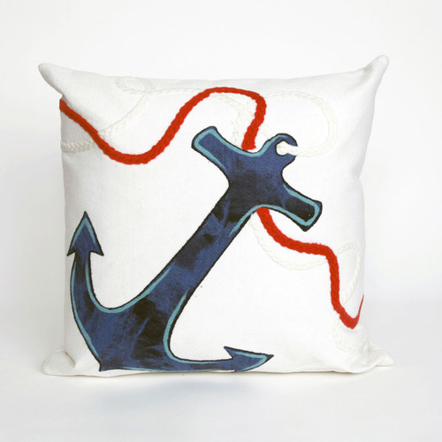 Visions White Anchor Indoor/Outdoor Throw Pillow -  Square