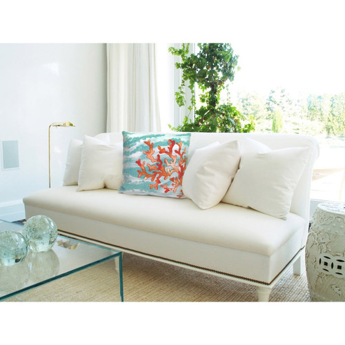 Visions Aqua Coral Wave Indoor/Outdoor Throw Pillow -  Square Lifestyle