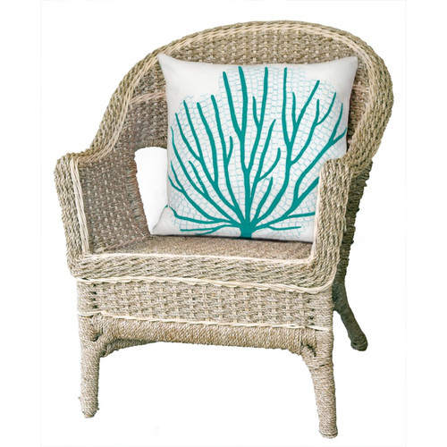 Visions Aqua Coral Fan Indoor/Outdoor Throw Pillow -  Square Lifestyle