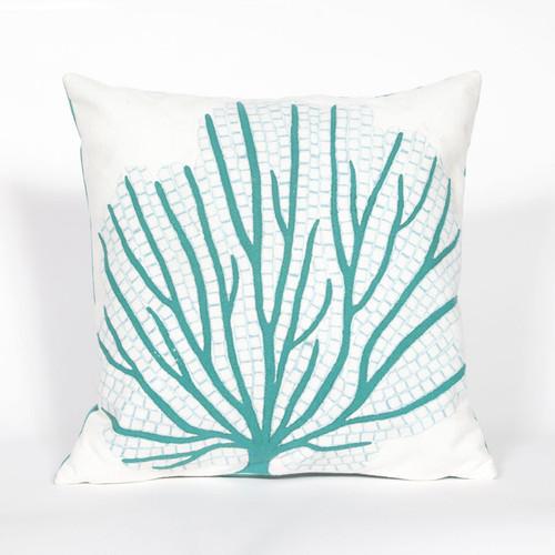 Visions Aqua Coral Fan Indoor/Outdoor Throw Pillow -  Square