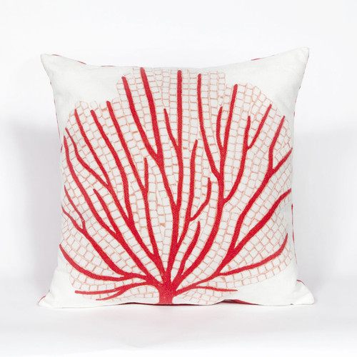 Visions Coral Fan Indoor/Outdoor Throw Pillow -  Square