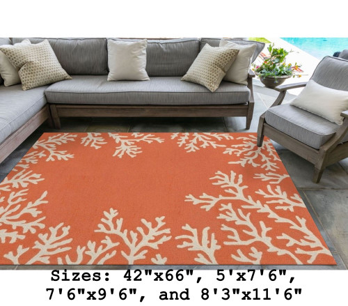 Capri Coral Border Indoor/Outdoor Rug -  Coral - Large Rectangle Lifestyle Available in 11 Sizes